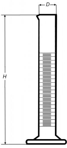 Цилиндр высокий, 25 мл, с носиком, коричневая шкала