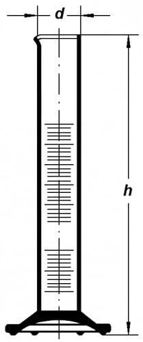 Цилиндр высокий, класс 2, 50 мл, с коричневой градуировкой