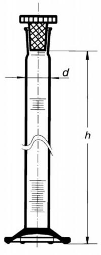 Цилиндр высокий, класс 1, 25 мл, с пластмассовой пробкой, синяя шкала