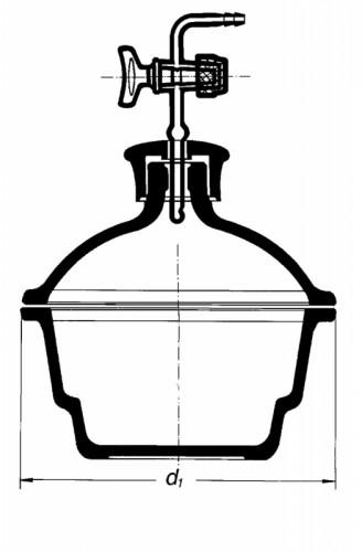 Эксикатор с краном, 300 мм, с пластмассовой крышкой, без диска
