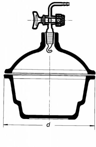 Эксикатор с краном, 200 мм, без диска, шлиф 29/32