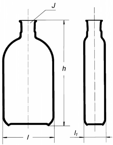Бутыль Роукса, культуральная, 450 мл, формованная горловина по центру