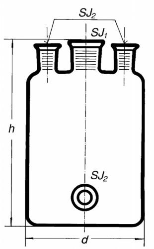 Бутыль Вульфа с 3 горловинами, 2000 мл, с нижним выходом