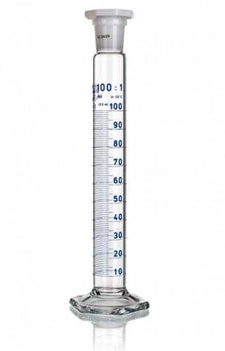Цилиндр высокий, класс 1, 50 мл, с пластмассовой пробкой, синяя шкала