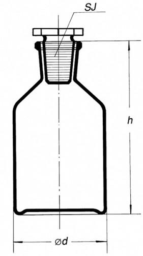 Склянка для реактивов на 1000 мл, из светлого стекла с узкой горловиной и притертой пробкой