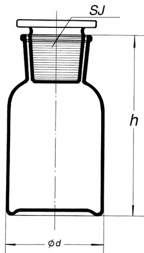 Склянка светлая (флакон), 5000 мл, с пробкой (шир. горловина)