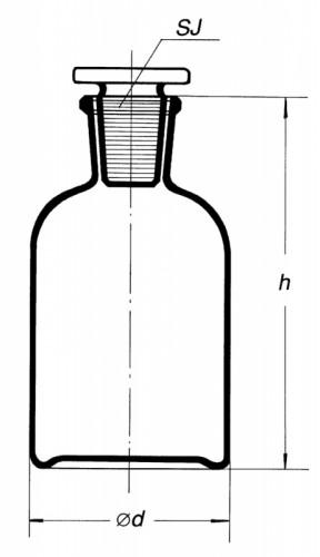 Склянка темная, (узк. горловина) 50 мл, с пробкой