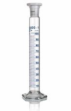 Цилиндр высокий, класс 1, 100 мл, с пластмассовой пробкой, синяя шкала