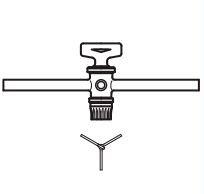Кран трехходовой, 6 мм, V-образное отверстие