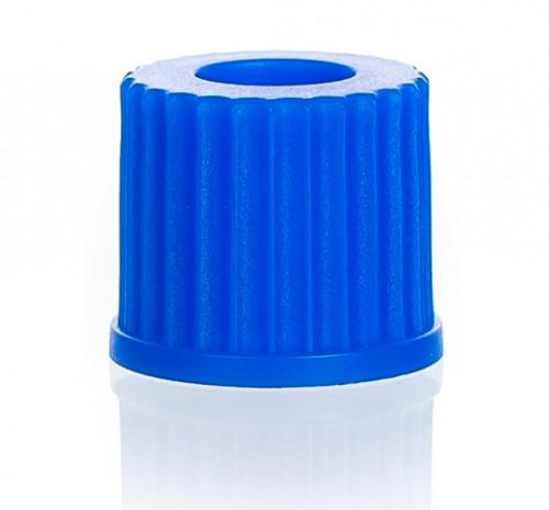 Крышка винтовая синяя, GL 25, с отверстием 16 мм