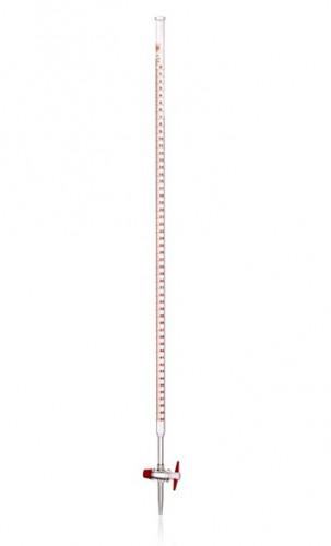 Бюретка с прямым тефлоновым краном, 100 мл, дел. 0,2 мл, с полосой Шелбаха, AS класс