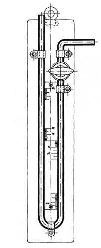 Манометр со шкалой и краном, 500-0-500 мл