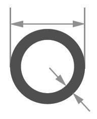 Трубка стеклянная Simax, диаметр 52 мм, толщина стенки 2,5 мм