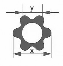 Профильная трубка Simax, шестилепестковая, диаметр наружн. 32 мм, внутр. 19,5 мм